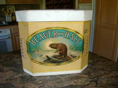 Vintage Large Old Empty BEAVER BRAND Cardboard HAT BOX, Great Graphics