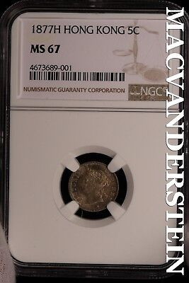 Hong Kong: 1877-H Five Cents- Ngc-Ms67 !! Very Rare !! Population-3 !! #sl16133
