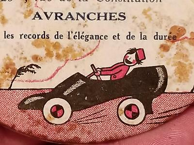 Vintage FRENCH SHOE STORE Advertising Mirror Token LITTLE MAN DRIVING A SHOE CAR