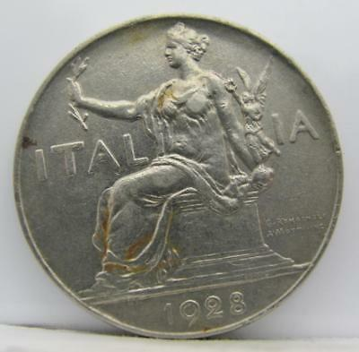 Italy 1928-R 1-Lira! Almost Unc! Km# 62! Really Nice Old Type Coin! Look!