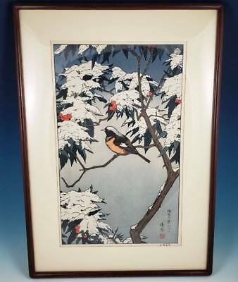 Toshi Yoshida Winter Japanese Woodblock Print Franklin Mint Birds of the Seasons