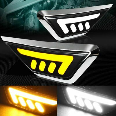 White/Amber Led Strip Turn Signal Side Marker Lights Fit 16-18 Honda Civic 2/4Dr