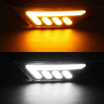 Fit 2016-2018 Civic 10Th White/Amber Led Strip Turn Signal Side Marker Lights