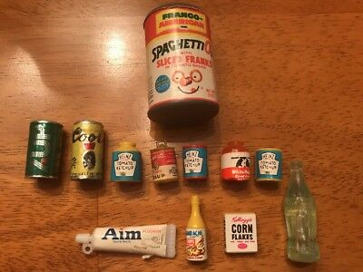 Vintage Miniature Dollhouse Plastic Food Coors Heinz 7-Up Corn Flakes Coca Cola