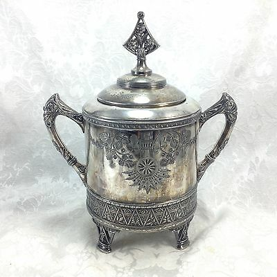 Antique Vintage Rogers Smith Flowers Silverplate Covered Handled Sugar Serving