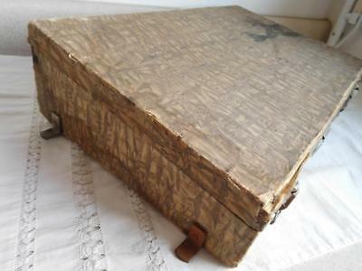 Antique FABRIC COVERED Luggage Trunk Suitcase, lap writing Desk What is it? vtg