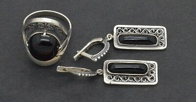 Antiquarian Silver Earrings & Ring with Hematite gemstones. 20 Century 15gr