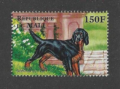 Dog Art Full Body Portrait Postage Stamp Pointing GORDON SETTER Mali Africa MNH