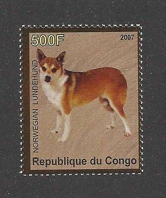 Dog Photo Body Study Portrait Postage Stamp NORWEGIAN LUNDEHUND Congo 2007 MNH
