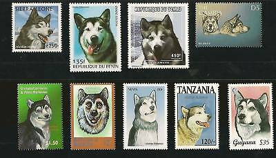 Dog Art Head Study Postage Stamp Collection ALASKAN MALAMUTE 9 Different MNH