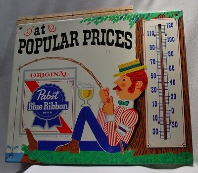 Old 1970s  Metal Pabst Blue Ribbon Beer Thermometer Fishing