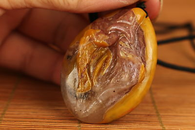 Rare Chinese Old natural Agate Hand Carved Door of life art Statue Pendant