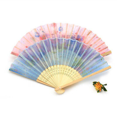 Flower Classical Portable Hand Fan Summer Handheld Middle Handle