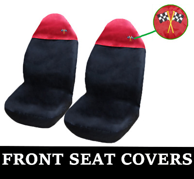 BLACK and RED Car Seat Covers UNIVERSAL Protectors Fits Renault Zoe