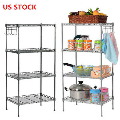Heavy Duty Metal Steel Rack Garage Kitchen Storage 4 Shelf Shelving Shelves Unit