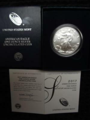 2017-W BURNISHED SILVER EAGLE,Direct from the US Mint,With Box & COA,LOW Mintage
