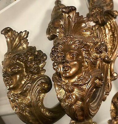 Pair of Antique French Bronze Curtain Tiebacks w Faces