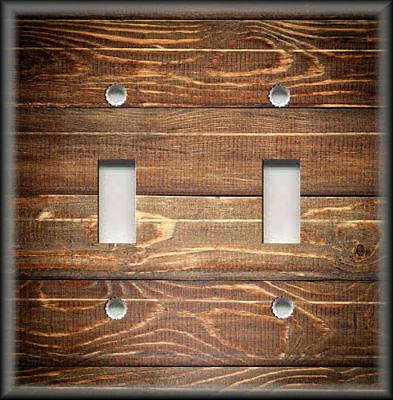 Metal Switch Plate Covers Rustic Cabin Home Decor Brown Wood Design Farmhouse
