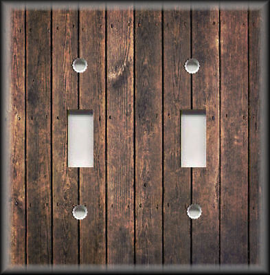 Metal Switch Plate Covers Rustic Industrial Decor Reclaimed Wood Design Brown 03
