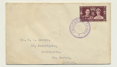 """TRISTAN DA CUNHA 1937 CORONATION 1½d ON COVER TO UK, C9 CACHE """"SIGNED""""(SEE BELOW"""