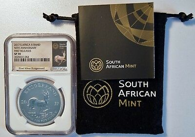 2017 South Africa 1 Rand 1 Oz Silver Krugerrand NGC SP 70 Coin 50th Anniversary