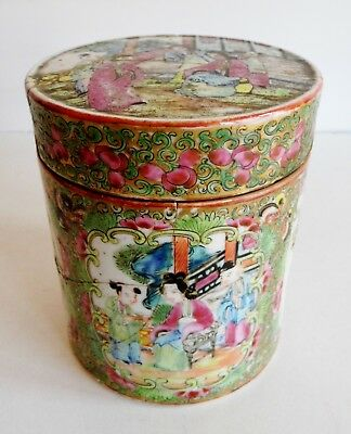 Rare Old Chinese Cantonese Porcelain Lidded Jar - Character Marks Inside The Lid