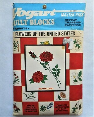 Vogart Vtg Floral Flowers of the United States U.S. Embroidery Hot Iron Transfer