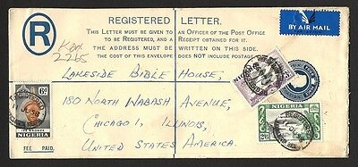 Nigeria QEII 4d registered envelope uprated 9d to USA