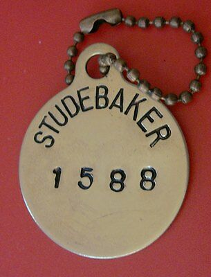 Old Brass STUDEBAKER CAR CO Tool Check Brass Tag; Automotive Factory