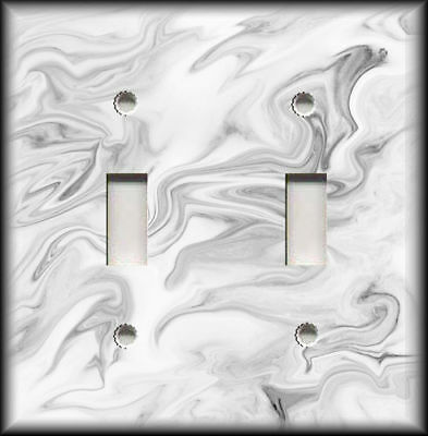 Metal Light Switch Plate Covers Marble Stone Design Home Decor White And Grey 08