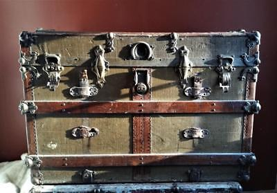 Antique Flat Slat Steamer Trunk Stage Coach Wardrobe Chest Coffee Table Project