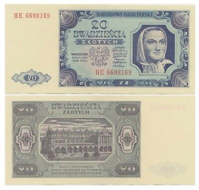 2o Zlots Polish banknote issued in 1948 HE aunc