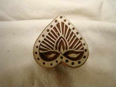 Wooden Indian Printing Craft Block,stamp,  Heart Shape, Handcarved, New Unused
