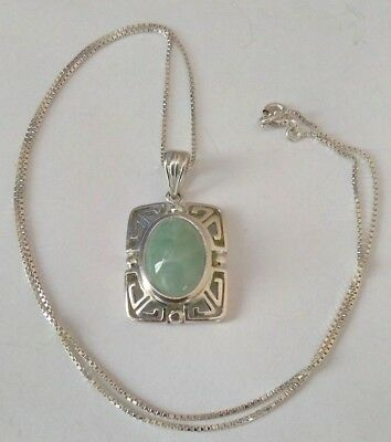 925 Sterling Silver Necklace With Green Stone & Silver Chain