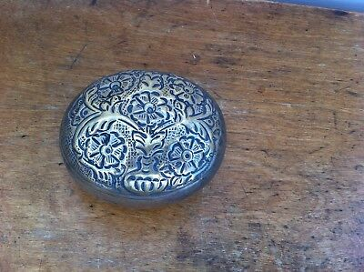 DECORATIVE OLD METAL OVAL BOX 3.7 by 3 inches