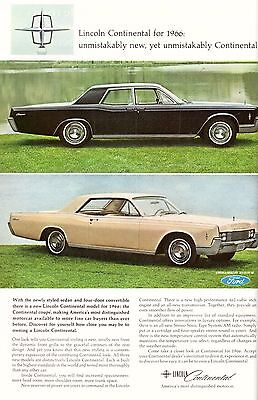 1965 Lincoln Continental Car Automobile Print Advertisement Ad Vintage VTG 60s