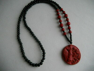 Vintage Asian Chinese Carved Cinnabar Beaded Necklace Bird