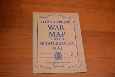 Daily Express War Map Sheet II Mediterranean Zone (includes photos of 'men in co