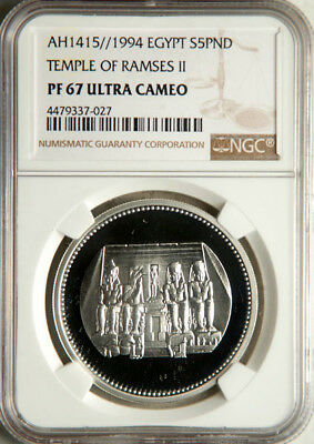 Ngc Pf-67 Ultra Cameo Egypt Silver 5 Pounds Ah1415//1994 (Temple Of Ramses Ii)