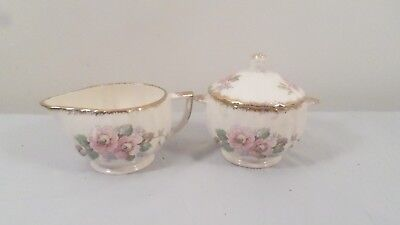 Vintage Limoges 22K Gold China Rose Cream Creamer & Sugar Set