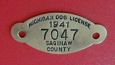 Vintage 1941 DOG LICENSE Brass Tag: SAGINAW COUNTY MI