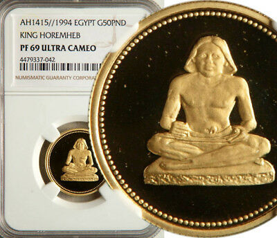 Ngc Pf-69 Ultra Cameo Egypt Gold 50 Pounds Ah1415//1994 (King Horemheb) Pop: 3/3