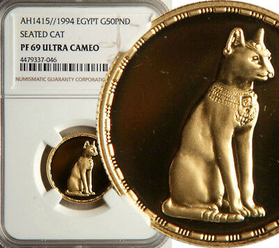 Ngc Pf-69 Ultra Cameo Egypt Gold 50 Pounds Ah1415//1994 (Seated Cat) Pop: 1/0