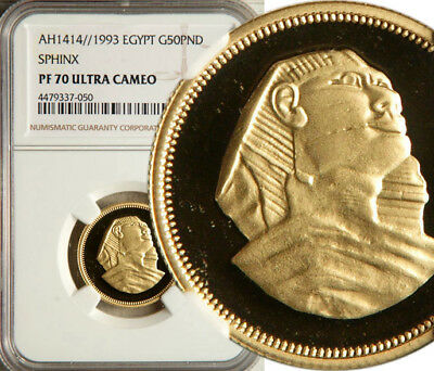 Ngc Pf-70 (!) Ultra Cameo Egypt Gold 50 Pounds Ah1414//1993 (Sphinx) Pop: 1/0