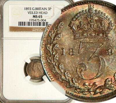 Ngc Ms-65 Great Britain Silver Threepence 3 Pence 1893 (Scarce This Nice!)