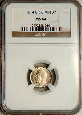 Ngc Ms-64 Great Britain Silver Threepence 3 Pence 1914 (Scarce This Nice!)
