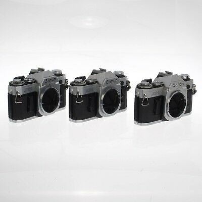 Lot of Three AE-1 Canon FD 35mm Film Cameras - Tested and Working