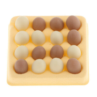 1/12 Chicken Eggs with Holder Dollhouse Miniature Kitchen Accessory 16pcs