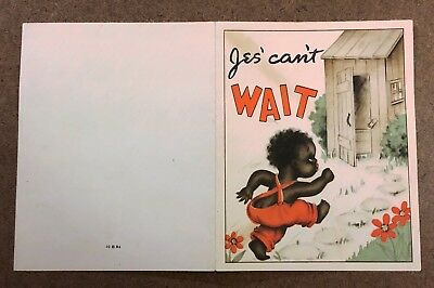 Vintage Black Americana Birthday Card Jes Running to the Outhouse Bathroom
