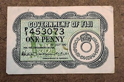 Government of Fiji ONE PENNY Bank Note 453073 July 1942 Good Shape Currency